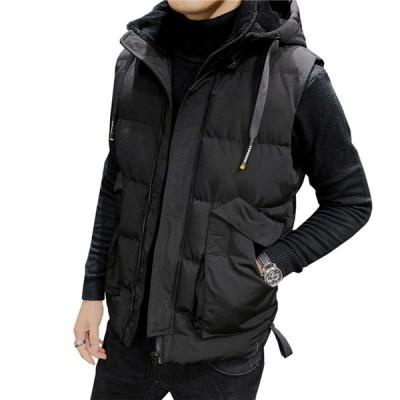 メンズ ダウンベスト 20代 30代 防風トップス 中綿ブルゾン フード付き 袖なし おしゃれ 暖かい ポケットあり 動きやすい  作業