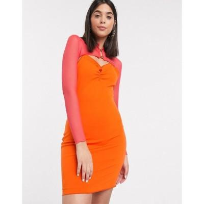 ゼリア ミニドレス レディース ZYA mini dress with long sleeve mesh layer エイソス ASOS マルチカラー