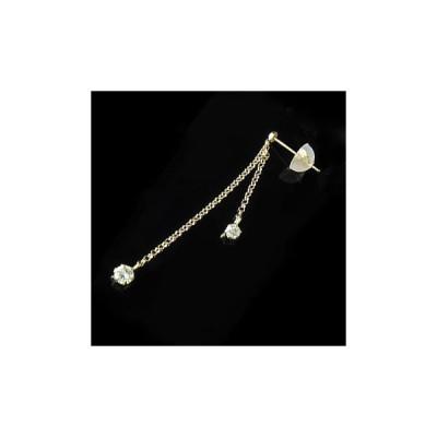 18金ピアス メンズ 片耳ピアス スワロフスキーキュービックジルコニア イエローゴールドK18 ピアス ロングピアス チェーン タッセル フリンジ 男性用 宝石 18k