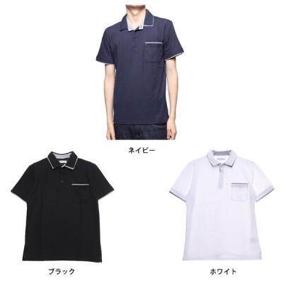 W衿ストライプ柄切り替えドライポロシャツ(ホワイト×LL)