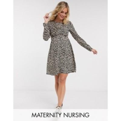 エイソス レディース ワンピース トップス ASOS DESIGN Maternity Nursing mini wrap dress with long sleeves in leopard print Natural