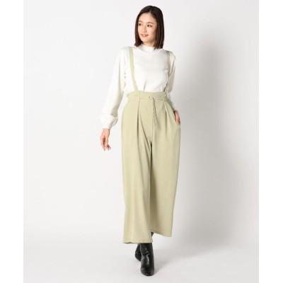 【ミューズ リファインド クローズ】 ウォッシャブルイージーサスツキワイドパンツ レディース ライト グリーン M MEW'S REFINED CLOTHES
