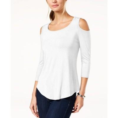 ジェイエムコレクション カットソー トップス レディース Petite Cold-Shoulder Top, Created for Macy's Bright White