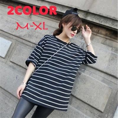Tシャツ 五分袖 半袖 ボーダー柄 ラウンドネック ロング丈 ゆったり 大きめ シンプル カジュアル おしゃれ 白 黒 夏 M L XL 2XL 女性