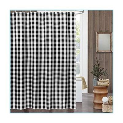 新品Uphome Farmhouse Shower Curtain Extra Long Black and White Buffalo Plaid Shower Curtains Rustic Checkered Slubbed Fabric Shower Curtai