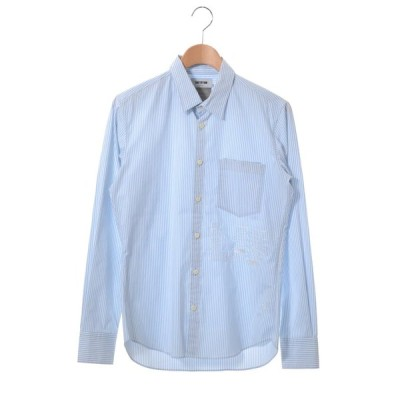 FACTOTUM LIFE ストライプ 刺繍 シャツ 46 ライトブルー ファクトタム