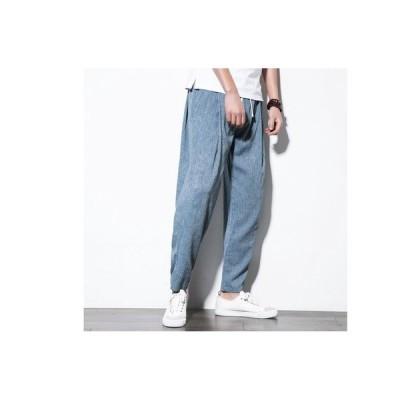 メンズ ルームウェア 麻ズボン リネンパンツ カジュアル ロングパンツ イージーパンツ ブルー