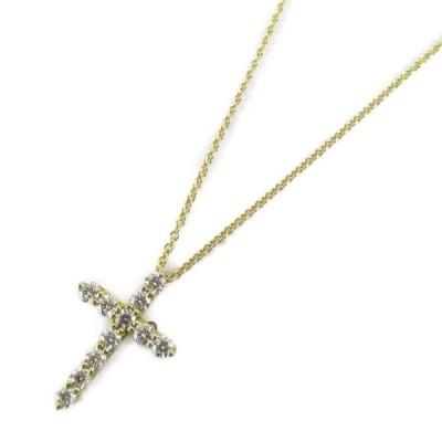 ティファニー スモールクロスダイヤモンドネックレス K18YG(750) イエローゴールドxダイヤモンド  ランクA