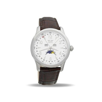 Davis-1501 トリプル日付とムーンフェイズ腕時計メンズ Mens triple date and Moonphase watch-White dial-Brown leather strap