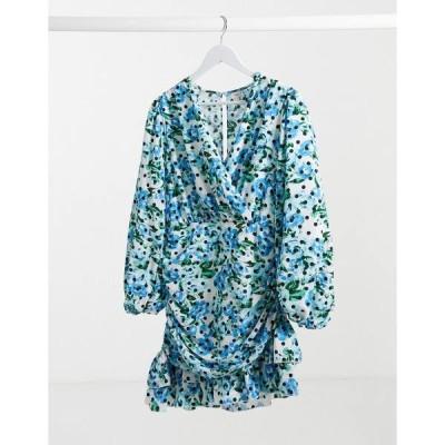 リバーアイランド レディース ワンピース トップス River Island floral print drapey skater mini dress in blue Blue