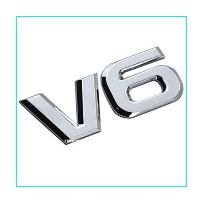 EmbRoom V6 Emblem, 3D Metal Truck Car Badge Decal Sticker Replacement for Universal Cars Moto Bike Car Styling Decorative Accessories (Chrom