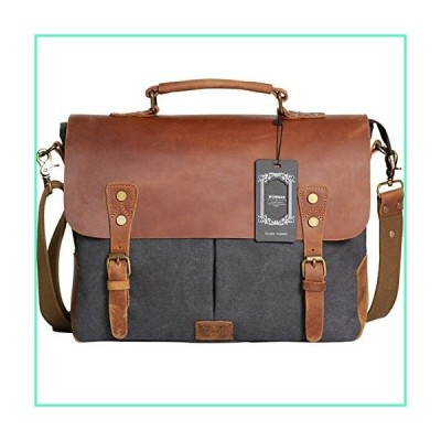 """Wowbox Messenger Satchel Bag for Men and Women,Vintage Canvas Real Leather 14-inch Laptop Briefcase for Everday use 13""""(L) x10.5(H) x 4.1""""(W"""