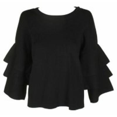 ファッション トップス Inc International Concepts Deep Black Tiered-Sleeve Sweater L