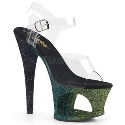 サンダル Pleaser プリーザー MOON-708OMBRE Clr/Emerald-Blk Ombre クリアー フィルム ラメ グラデーション レディース 靴 お取り寄せ商