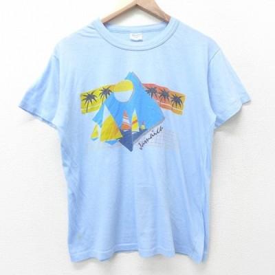 L/古着 半袖 ビンテージ Tシャツ メンズ 80s ジャマイカ ヨット ヤシの木 クルーネック 水色 21may31 中古