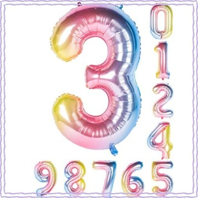 虹色 数字バルーン40インチ0-9誕生日パーティーデコレーションの風船の数字3