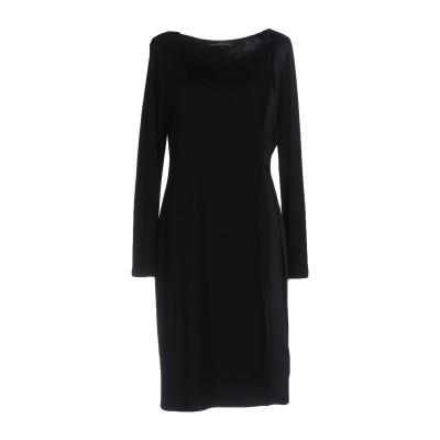 KATHLEEN MADDEN ミニワンピース&ドレス ブラック L レーヨン 86% / バージンウール 10% / ナイロン 4% / シルク