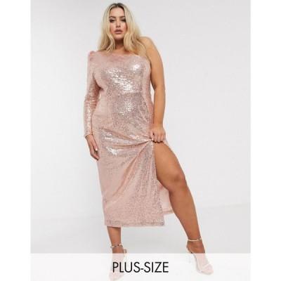 ユニーク21 UNIQUE21 Hero レディース ワンピース ワンピース・ドレス Unique 21 sequin one sleeve dress in rose gold ゴールド