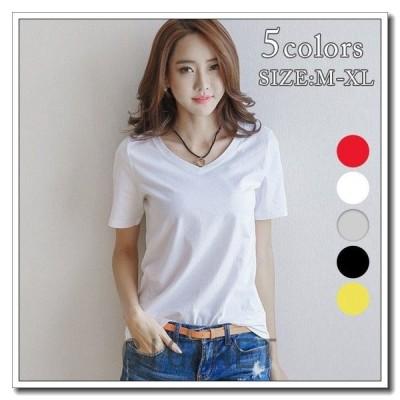 5colorシンプルVネック半袖Tシャツカジュアルプチプラ定番トップスレディースメール便