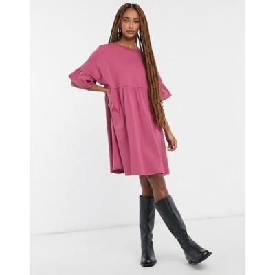 エイソス ASOS DESIGN レディース ワンピース ワンピース・ドレス super oversized frill sleeve smock dress in rose ローズ
