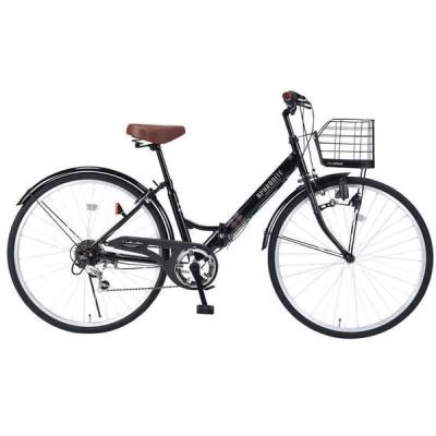 自転車 折畳シティサイクル26 6SP M-507 26インチ 6段ギア 3色 シティ サイクル おしゃれ 折畳 おりたたみ コンパクト 街乗り 軽量 池S 代引不可