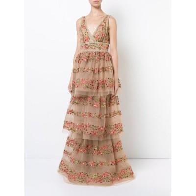 ワンピース マルケッサ ノッテ MARCHESA NOTTE Floral Embroidered V Neck Gown Layered Dress Gold 2 4 8