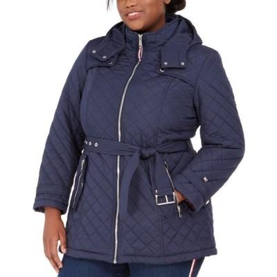 トミー ヒルフィガー レディース コート アウター Plus Size Belted Hooded Water-Resistant Quilted Coat