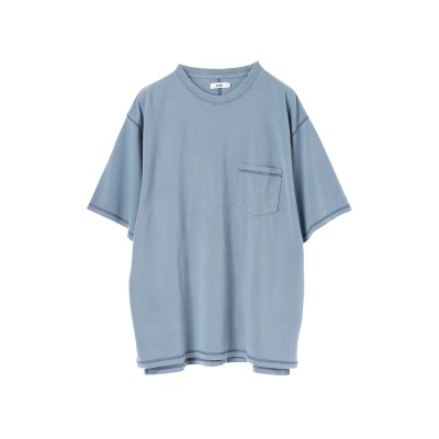 mens ポンチ3本針ステッチピグメントTシャツ