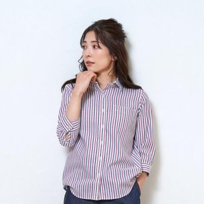 レディース ウィメンズシャツ カジュアル 七分袖 形態安定 やわらかガーゼ レギュラー衿 綿100% 白×エンジ、ネイビーストライプ