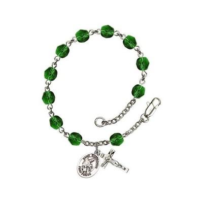 Bonyak Jewelry ブレスレット ジュエリー RB6000EMS-9356 St. Eustachius Silver Plate Rosary Bracelet 6