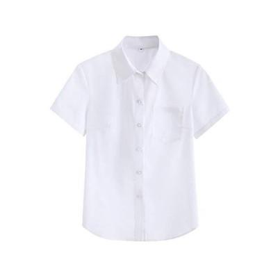 Euyqs ワイシャツ レディース 事務服 半袖 学生服シャツ ビジネス ユニフォーム レギュラー ワイシャツ