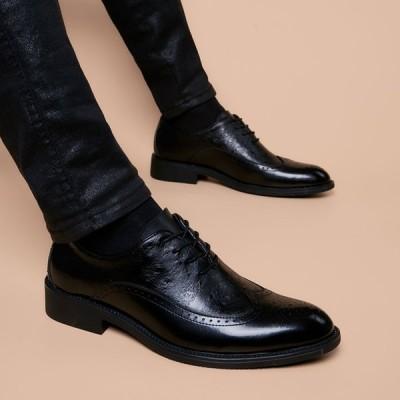 本革 ストレートチップ ビジネスシューズ 牛革 紳士靴 ビジネスシューズ メンズ靴 フォーマル レースアップ 革靴 皮 紳士 男性 新品 通勤 疲れにくい
