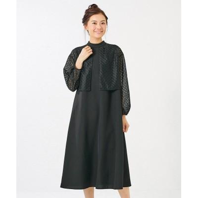大きいサイズ レースボレロ重ね着風フォーマルワンピース(OtonaSMILE) ,スマイルランド, ワンピース, plus size dress