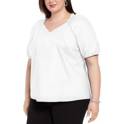 アルファニ Alfani レディース ブラウス・シャツ 大きいサイズ トップス Plus Size Smocked-Neck Blouse Soft White