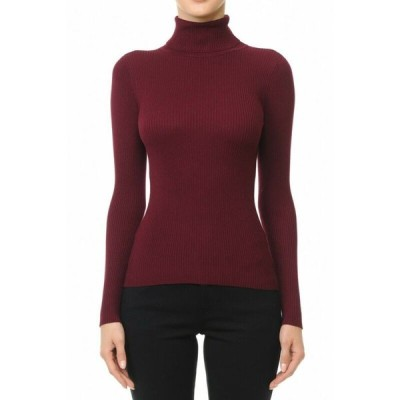 セーター レディース アンビ Burgundy Women's Basic Stretch Knit Long Sleeve Soft Turtle Neck Top Pullover Sweater S L