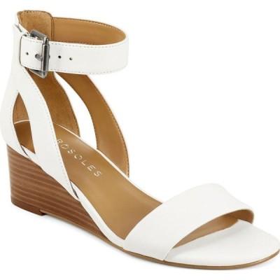 エアロソールズ Aerosoles レディース サンダル・ミュール ウェッジソール シューズ・靴 Willowbrook Wedge Sandals White Leather