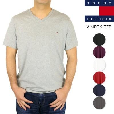 トミー ヒルフィガー Tシャツ メンズ Vネック 半袖 無地 フラッグ刺繍 トップス 09T3140