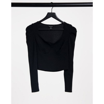 ニュールック New Look レディース トップス Bust Seam Detail Top With Ruched Sleeve In Black ブラック