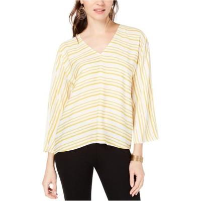 レディース 衣類 トップス I-N-C Womens Striped Pullover Blouse Yellow Small ブラウス&シャツ