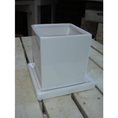 ホワイトインテリア陶器鉢 受け皿付き♪スクエアタイプ