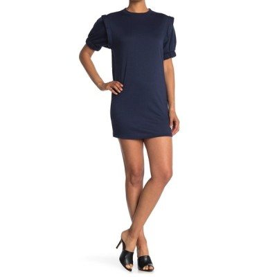 ベルベットトーチ レディース ワンピース トップス Big Sleeve Mini Shift Dress NAVY