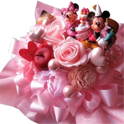 ディズニー 誕生日プレゼント プチ ピンク ミッキー ミニー バースデーB ピンクバラ プリザーブドフラワー入りギフト ケース付き