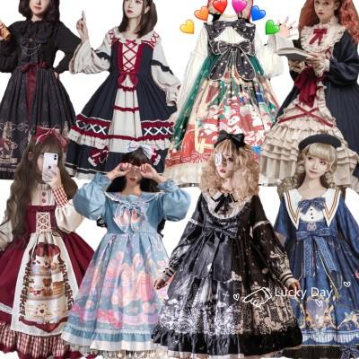 【2021新作登場】3枚+2枚★ 高品質★可愛いクリスマス ハロウィンコスプレロリワンピースゴシック貴族風ロリメイド服 春夏秋冬はみんな着られる公主 かわいい 日常 Lolita