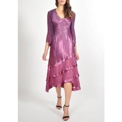 コマロフ レディース ワンピース トップス Two-Piece Chiffon Jacket Charmeuse Tiered Pleated Midi Dress