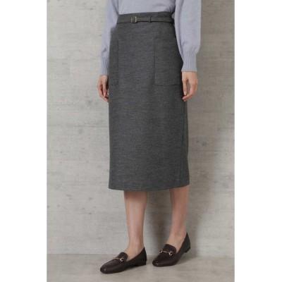 【ナチュラルビューティーベーシック】 ウール混カルゼタイトスカート レディース グレー L NATURAL BEAUTY BASIC