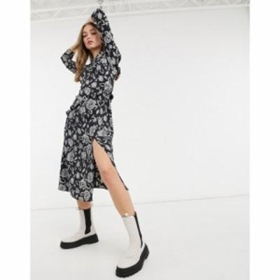 トップショップ Topshop レディース ワンピース ミドル丈 ワンピース・ドレス ruffle detail midi dress in black and grey floral ブラ