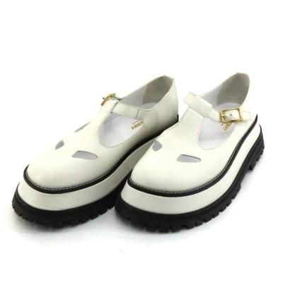 BURBERRY FLAT T-BAR SHOE ホワイト×ブラック サイズ:38 1/2 (和歌山店) 210616