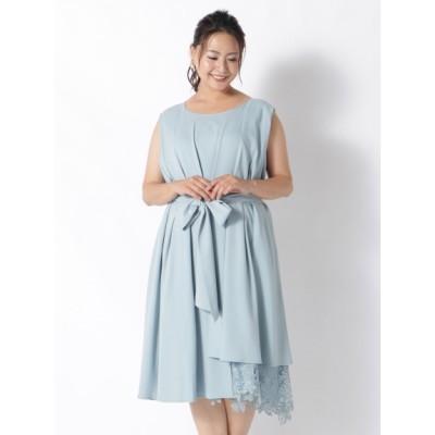 【大きいサイズ】サイドレースタックドレス 大きいサイズ ワンピース レディース