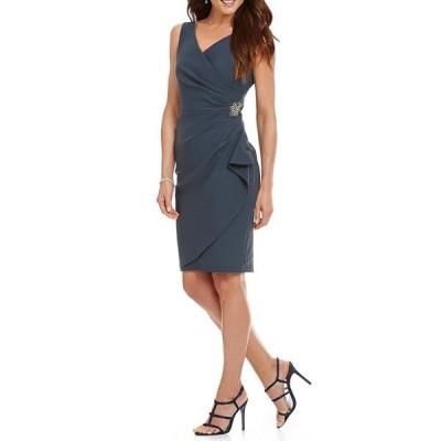 アレックスイブニングス レディース ワンピース トップス Petite Ruched Sheath Dress Charcoal