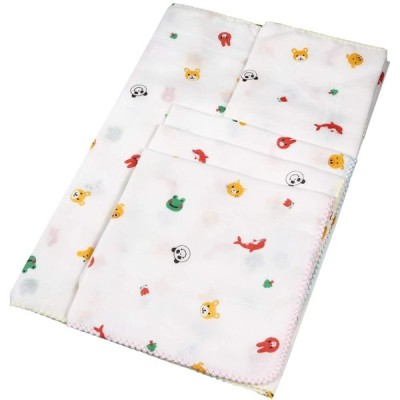 イサム商会 綿100% 日本製 ガーゼ入浴6点セット (バスタオル1枚、入浴タオル2枚、ガーゼハンカチ3枚) アニマル柄